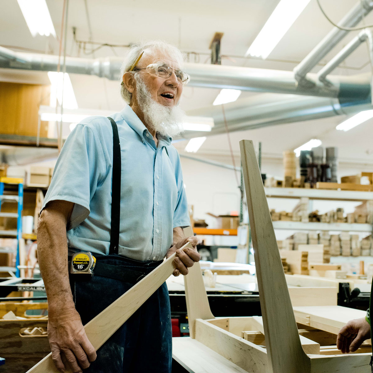 Amish craftsman working at Canal Dover Furniture